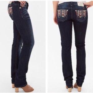 Miss Me Aztec Embellished Mid Rise Skinny Jeans